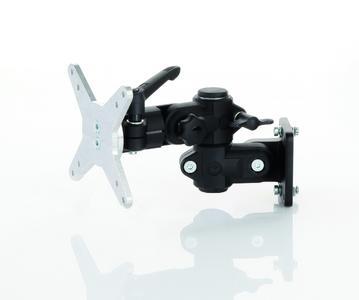 Die RK Monitorhalterung für Monitore und Touchpanels bis 25 kg bietet viele Freiheitsgrade und verfügt über eine vibrationssichere, arretierbare Neigungsverstellung in 15° Schritten