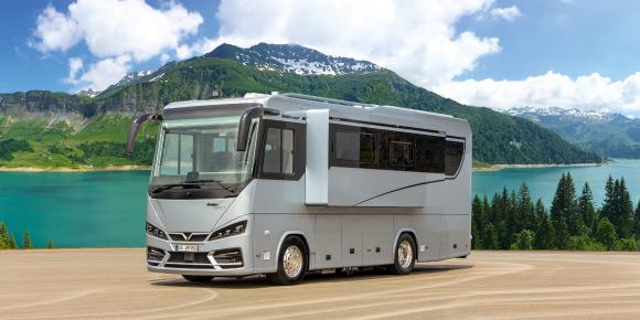 Powerful hightech motorhome  with slide-out on MB Actros 1846. Only 9 m vehicle length