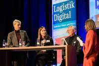 Von links: Dr. Arnd Köfler von Thyssenkrupp Steel Europe, Monja Mühling von Smartlane, Prof. Michael ten Hompel vom Fraunhofer IML und Moderatorin Julia Miosga