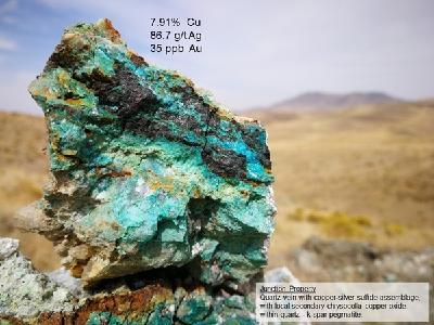 Kupfer- und Silbersulfidmineralisierung; Foto: VR Resources
