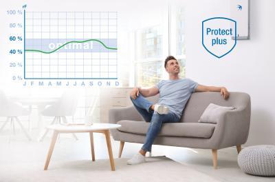 Messungen zeigen, dass sich die Luftfeuchtigkeit dank des intelligenten Feuchtemanagements des Lüftungsgeräts freeAir 100 im gesundheitlich optimalen Bereich zwischen 40-60 Prozent bewegt. Innovative Zwei-Stufen-Filter schützen vor Feinstaub, Pollen und Insekten / Bildquelle: bluMartin GmbH