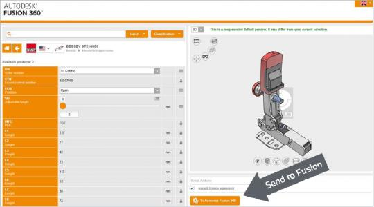 The selected component can now be individually configured and integrated into Autodesk Fusion 360
