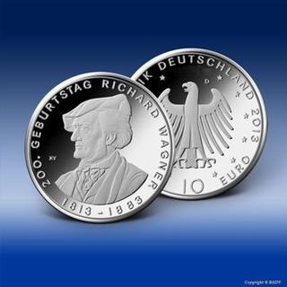 """Die neue 10 Euro-Gedenkmünze des Bundes """"200. Geburtstag Richard Wagner"""" kann ab sofort bei Bayerisches Münzkontor reserviert werden. Bild: Bundesministerium der Finanzen"""