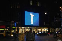 Die mit der Videro Software gesteuerte Installation beeindruckt auch bei Nacht