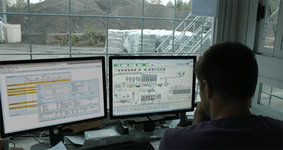WDV-Arbeitsplatz im Werk. Für Mischmeister, Wäger und Faktura sind alle Daten komfortabel im Blick.