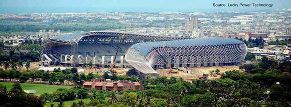 Assembly PV-Modules World Games 2009 Stadium