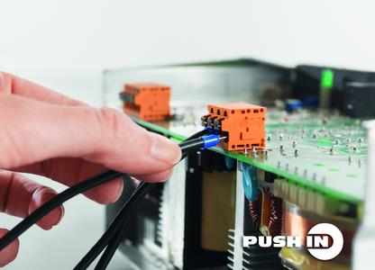 Weidmüller OMNIMATE® Signal LMF terminals: Push-in connection up to 2.5 mm2: a fast, time-saving and secure conductor connection for reliable contact with connecting lines. Conductors with ferrules and single-stranded conductors can be plugged in directly