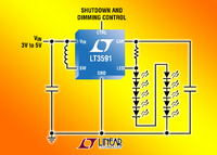 Tiny High Efficiency White LED Driver with Integrated Schottky Drives up to 10 LEDs