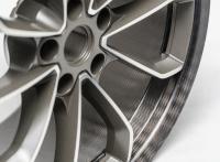 The HMETC CFRP hybrid wheels with thyssenkrupp Carbon Components' distinctive braiding pattern. Source: thyssenkrupp Carbon Components GmbH