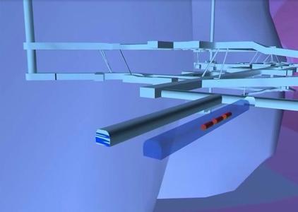 Ausschnitt aus der Simulation eines Endlagerbergwerks. Im Vordergrund wurden drei virtuelle Abfallbehälter (rot) in eine Strecke eingebracht, um die Ausbreitung der von ihnen ausgehenden Wärme zu simulieren. Foto: BGR, DBE TEC, GRS, IFF