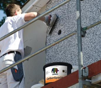 Der Carbon-Spachtel lässt sich hervorragend verarbeiten und bietet höchste Sicherheit vor Putzrissen und Abplatzungen. Foto: Caparol Farben Lacke Bautenschutz