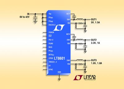 42V Triple Synchronous Step-Down DC/DC Converter Delivers 93% Efficiency & Operates from 3V to 42V Inputs