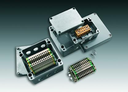 Weidmüller bietet mit seinen standardisierten Verteilergehäusen ein modular aufgebautes System, bestehend aus vorgebohrten Gehäusen und bestückten Tragschienen an