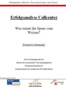 Callcenter Studie Deckblatt