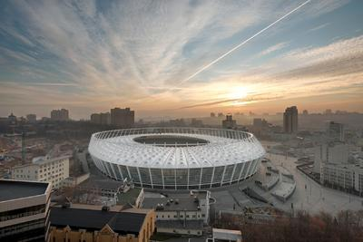 Olympic Stadium Kiev: Spoked-wheel roof made of 3M Dyneon PTFE coated glass fiber membranes