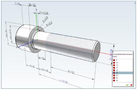 Erstmals können PARTsolutions Nutzer das jeweilige Bauteil direkt in der 3D Ansicht konfigurieren, dazu werden ihnen bereits in der 3D Bauteilvorschau Variablen zur Auswahl angeboten