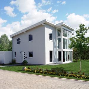 Traum in Weiß: Holzhäuser können, müssen aber nicht nach Holz aussehen. Die meisten Ein- und Zweifamilienhäuser in Deutschland werden auch im Holzfertigbau mit weißem Putz bestellt. (Foto: Fingerhaus/DHV, Ostfildern; www.d-h-v.de)