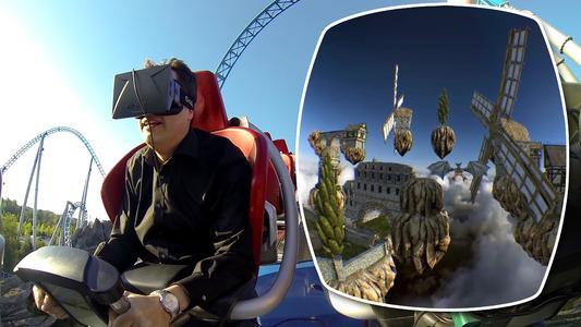 Prof. Thomas Wagner mit Oculus Rift auf der Achterbahn: In der virtuellen Realität kann der Fahrgast beispielsweise hoch über den Wolken zwischen schwebenden Inseln umherfliegen