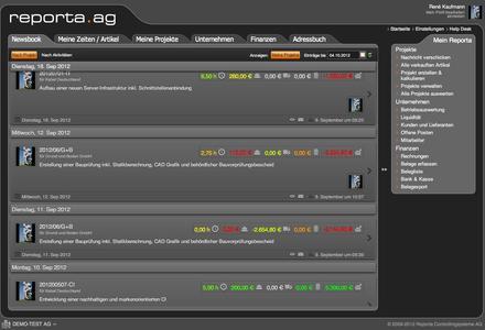 Reporta liefert webbasiert auf einen Blick alle Informationen über Zeit- und Materialeinsatz (Quelle: Reporta)