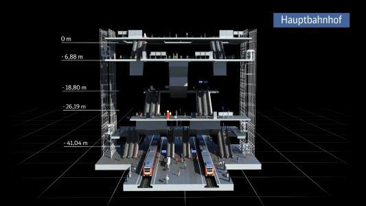 Visualisierung VE 30: Die neue unterirdische Station am Münchner Hauptbahnhof im 3D-Modell, Quelle: Deutsche Bahn AG / Fritz Stoiber Productions
