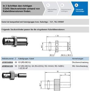 Einfacher geht es nicht: Besucher der Telegärtner Website finden schnell und einfach den passenden HF-Steckverbinder zu ihrem Koax-Kabel.