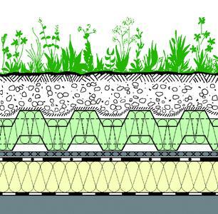 """Systemaufbau """"Wärmedämmende Dachbegrünung"""" mit Floratherm® WD im Minergie-Standard"""