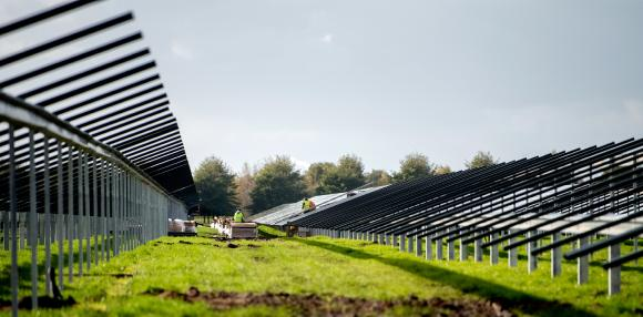 """Construction of the PV plant """"Zonnepark Lange Runde"""" / Picture: Statkraft"""