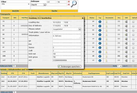 Im WebPublishing von Städtler-Logistik können Dienstleister Abholungs- und Ablieferungsdaten sowie eventuelle Abweichungen beim Frachtgewicht online eingeben. Die Daten können direkt vom ERP-System des Auftraggebers übernommen werden / Bild: Städtler-Logistik
