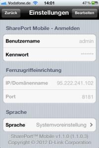D-Link Shareport Mobile - Anmeldung