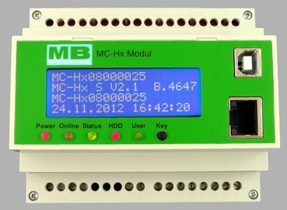 Das mit einer Übertemperatur-Sicherung ausgestattete Datenlogger-Modul des MC-Hx-Systems von MB DataTec passt auf jede DIN-Hutschiene