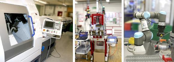 Die neuen Maschinen sind 2019 bei B+B eingezogen: Langdrehmaschine, Spritzgussmaschine und Roboterarm
