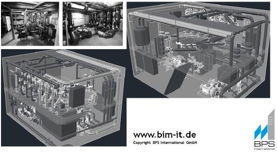 Durch Building Information Modeling können technische Anlagen in zwei Ebenen gestaltet werden und zudem so, dass diese bei Wartung und Installation optimal von Technikern erreicht werden können. Hier: BIM-Modell und Foto der technischen Anlagen.  Objekt: Country Park III
