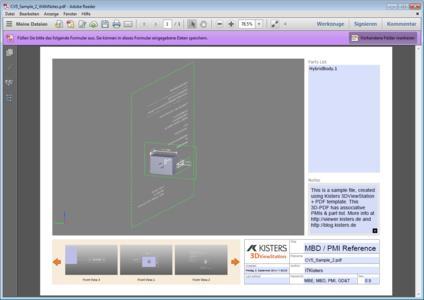 Kisters 3DViewStation 3D PDF Template MBD PMI