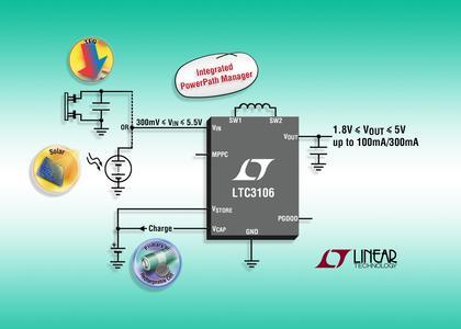 Neues von Arrow: LTC3106: DC/DC-Abwärts/Aufwärtsregler mit MPPC für kleine Eingangsspannungen