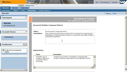 Screenshot – Seamless Integration in SAP Enterprise Portal