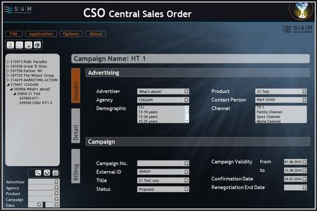 "Screenshot ""Central Sales Order"" von S4M"