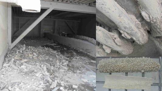 Rohre vor der Reinigung und entfernter Kalk (Bildquellen: Kipp Umwelttechnik GmbH | mycon GmbH)