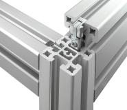 Speziell entwickelte Druckverbinder schaffen hochbelastbare, jederzeit wieder lösbare Verbindungen zwischen den auf Länge geschnittenen Schwerlastprofilen