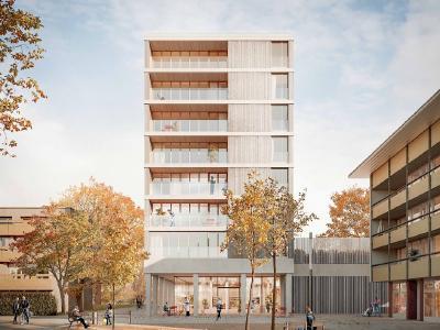 8-geschossiges Wohn- und Geschäftshaus in Holz (Freiburg im Breisgau) © Weissenrieder Architekten BDA