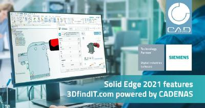 CADENAS powers 3DfindIT.com in Solid Edge 2021 to speed design time