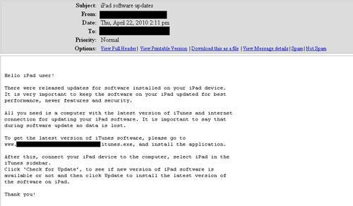 E-Mail-Nachricht, die das Update anpreist