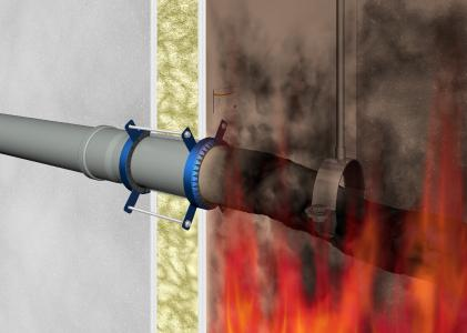 Im Brandfall wird das Rohr durch die Hitzeeinwirkung weich. Parallel beginn die Manschette damit, aufzuquellen