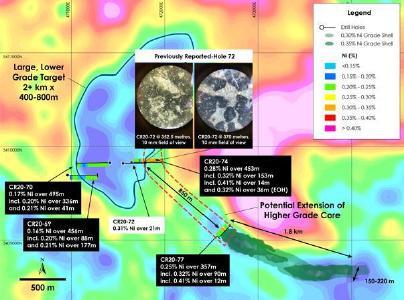 Abbildung 1 - Entdeckungsbohrungen der Zone West und Nickelressource der Zone Main über dem Schwerkraftgradienten (luftgestützte gravimetrische Vermessung von Crawford Township, abgeschlossen 2018), Nickel-Kobalt-Sulfid-Projekt Crawford, Ontario