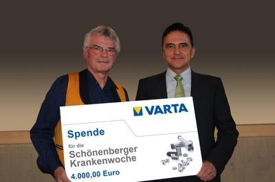 Vorstandsvorsitzender Herbert Schein mit Mitarbeiter Robert Sekler bei der Scheckübergabe
