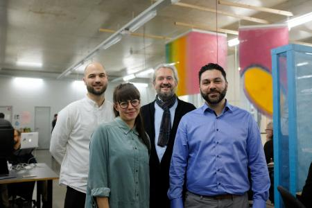 Die Gründer der HafvenXmayato Data Science Foundry v.l. Jonas Lindemann, Pauline Raczkowski (beide Hafven) sowie Dr. Marcus Dill, Pedram Shahlaifar (beide mayato)