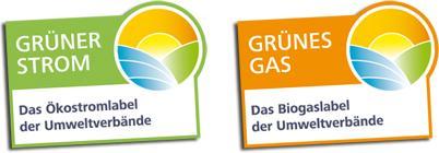 Die Gütesiegel Grüner Strom und Grünes Gas