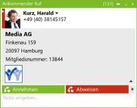 Bei Anrufeingang werden am PC-Bildschirm Informationen über den Anrufer angezeigt