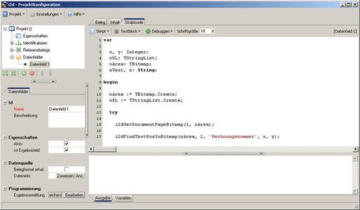 Für die Datenermittlung beinhaltet image2data eine eventbasierte Skriptsprache, innerhalb derer sich beliebige Abfragen definieren lassen