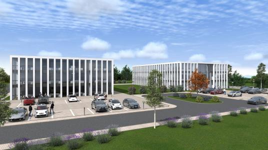 Design of the company headquarters of GBTEC with the new building (right)