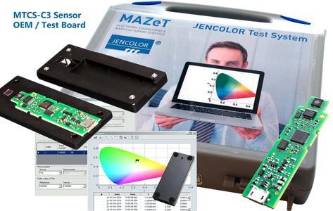 Das OEM Sensorboard MTCS-C3 mit USB Interface für Farbmessung nach CIE1931 kann direkt als USB-Farbsensor in ein Kundengehäuse als Colorimeter implementiert werden bzw. ist als Testsystem mit Kundenkalibrierung von MAZeT lieferbar. Bildquelle: MAZeT GmbH